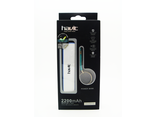 BANCO DE PODER HAVIT 2200MAH - USB Y MICRO USB - SUPER COMPACTO LLAVERO