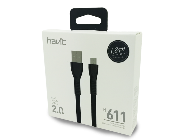 CABLE DE DATOS HAVIT CON CONEXIÓN USB A MICRO USB DE 1.8 M BLACK