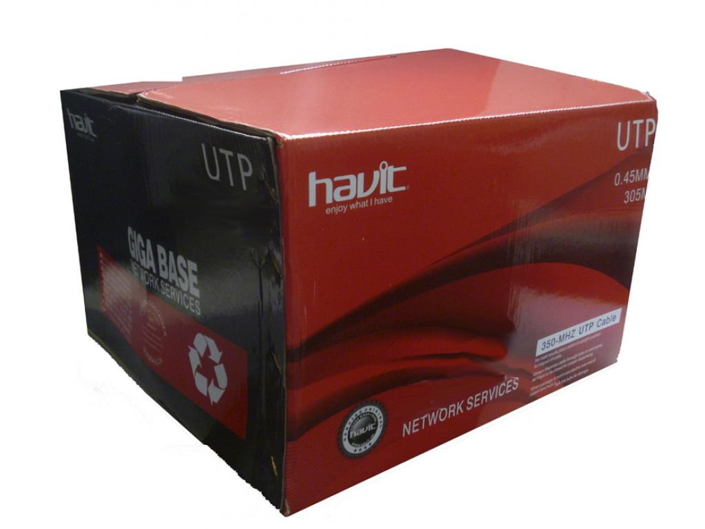 BOBINA HAVIT DE CABLE DE RED CATEGORIA 5 (CO+AL) 305M/0.45MM ESPESOR