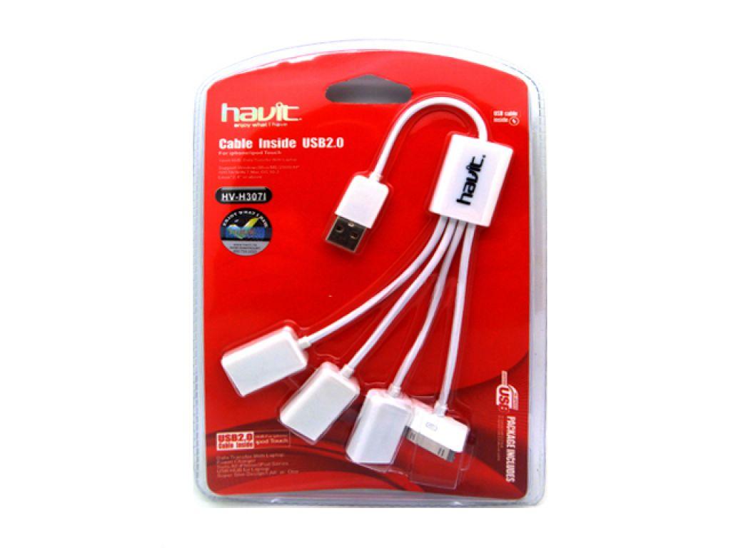 HUB HAVIT USB A 3 PUERTOS USB 2.0 Y UN PUERTO PARA IPHONE 4