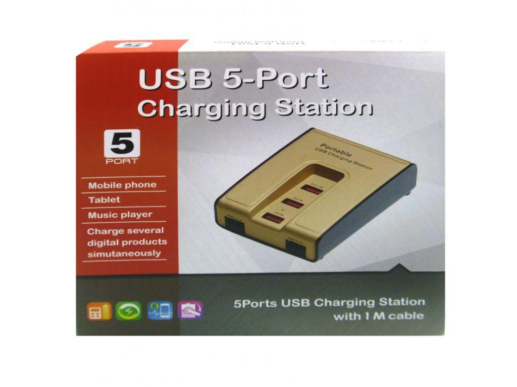 CARGADOR GENERICO 220V A USB 0.5A-2.1A CON LLAVE DE ENCENDIDO Y 5 PUERTOS