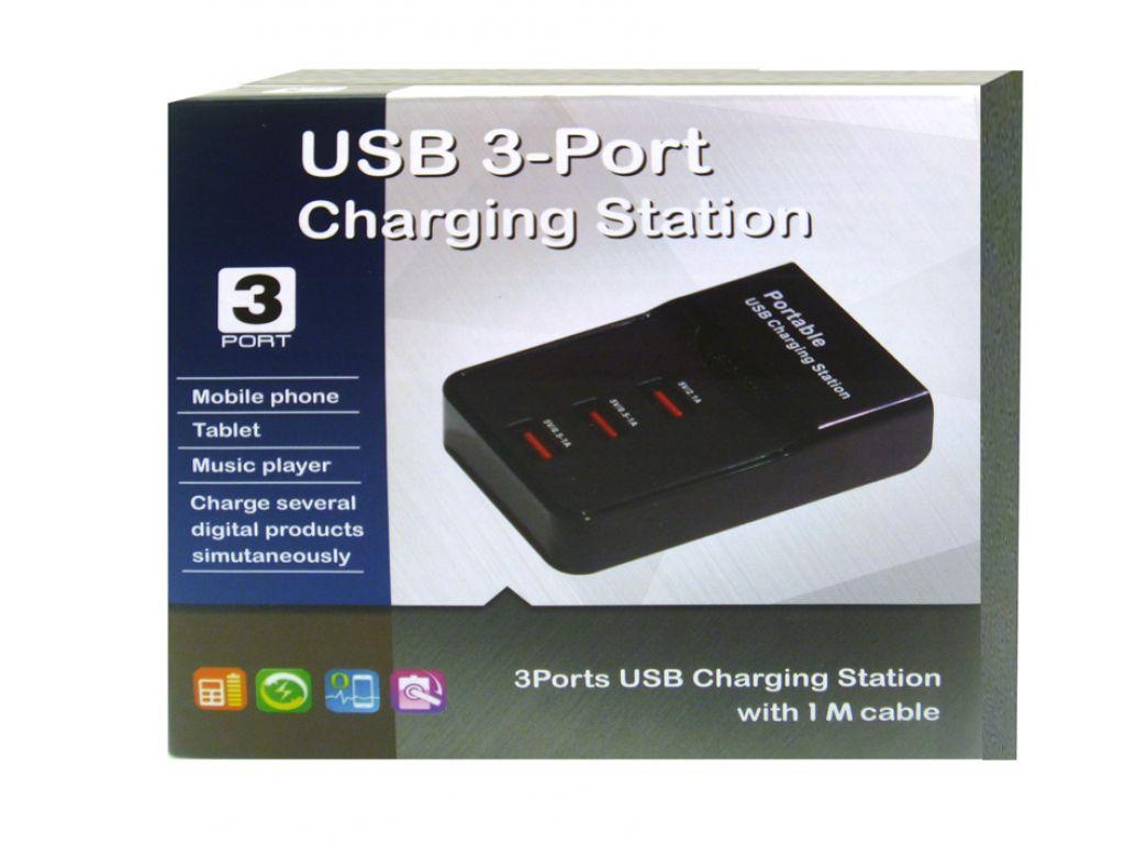CARGADOR GENERICO 220V A USB 0.5A-2.1A CON LLAVE DE ENCENDIDO 3 PUERTOS
