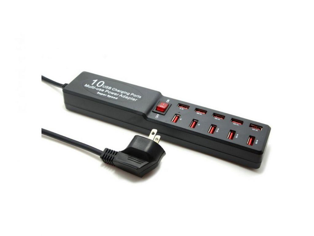 CARGADOR GENERICO 220V A 10 PUERTOS USB 2.0 CON LLAVE DE ENCENDIDO/TOMA SCHUCKO (DE 0.5A - 2.1A)