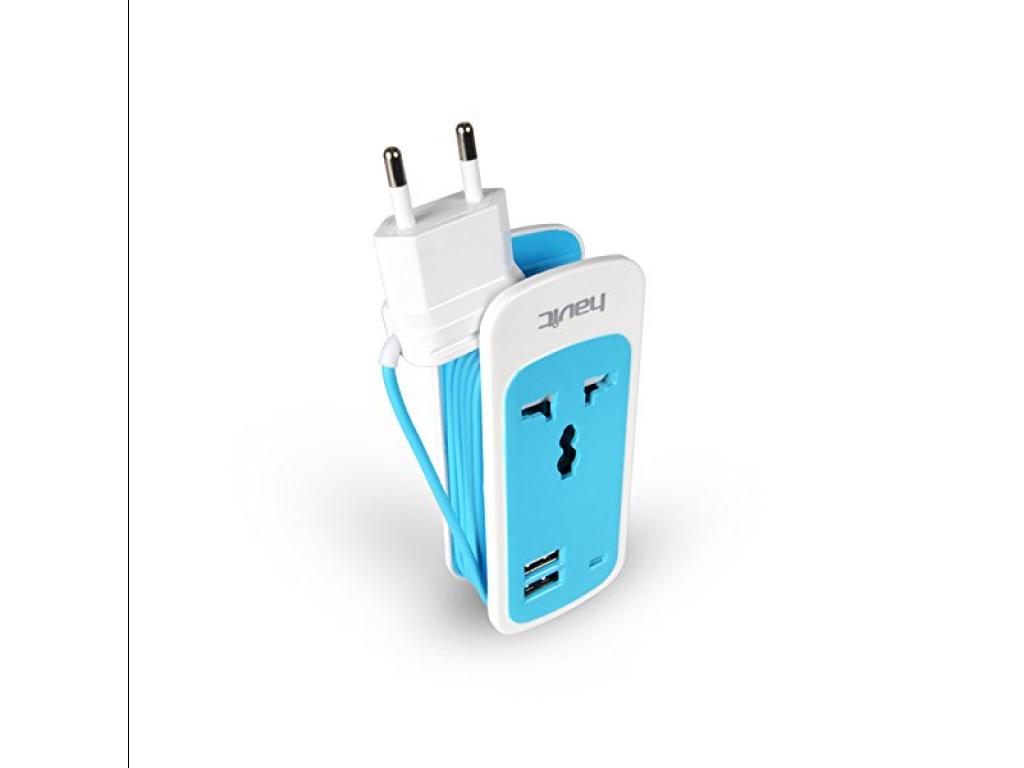 CARGADOR HAVIT USB MULTIPUERTO 2 BOCAS CON TOMA UNIVERSAL - CONEXION A 220V - CABLE ENROLLADO