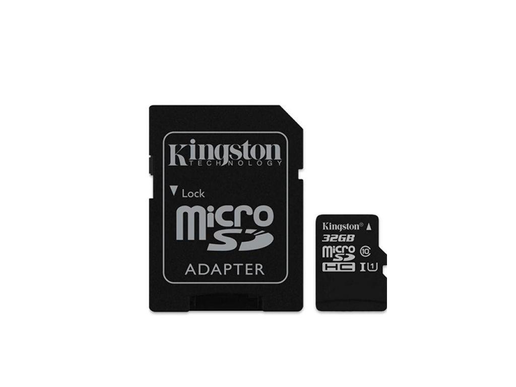 MEMORIA MICRO SD KINGSTON  DE 32 GB CLASE 10 CON ADAPTADOR