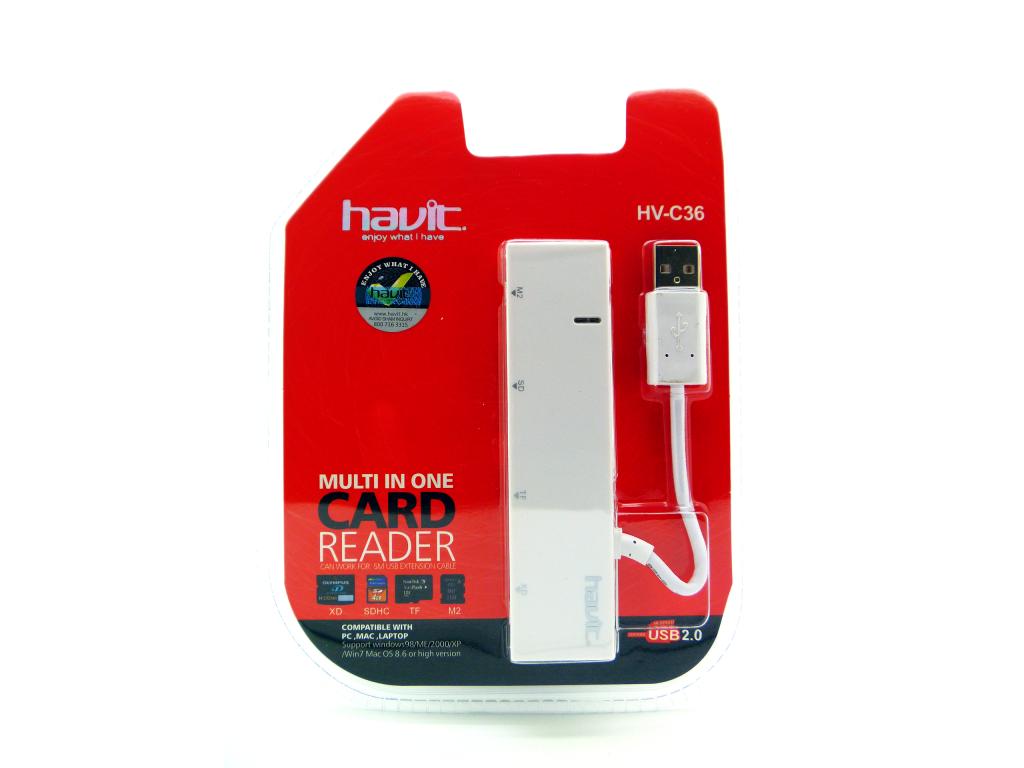 CARD READER HAVIT USB/XD/SD/TF/M2 CON LUZ INDICANDO FUNCIONAMIENTO BLANCO