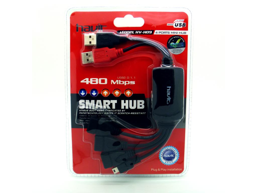 HUB HAVIT USB HEMBRA Y CONECTORES A MINI-USB, 5P,  NEGRO