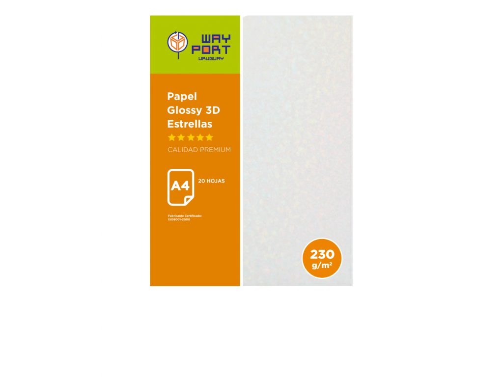 PAPEL WAYPORT GLOSSY 3D 230GR A4 ESTRELLA X20