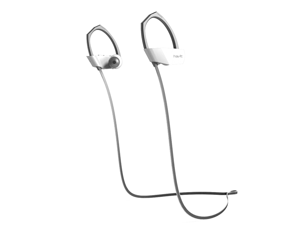 AURICULAR HAVIT INALAMBRICO CON BLUETOOTH, IDEAL PARA DEPORTE, GRIS Y BLANCO