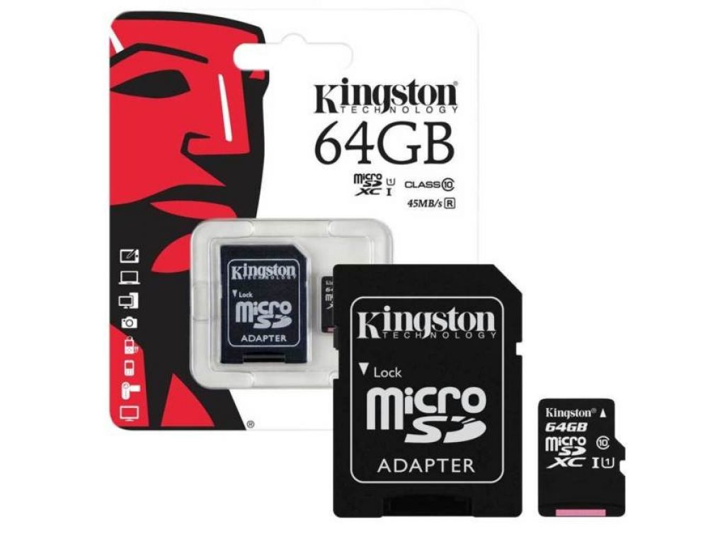 MEMORIA KINGSTON 64GB MICROSDHC CLASS 4 FLASH CARD