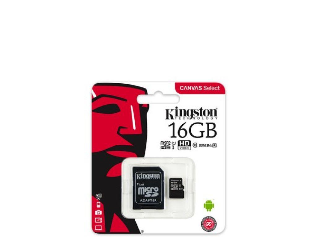 MEMORIA MICRO SD KINGSTON  DE 16 GB CLASE 10 CON ADAPTADOR