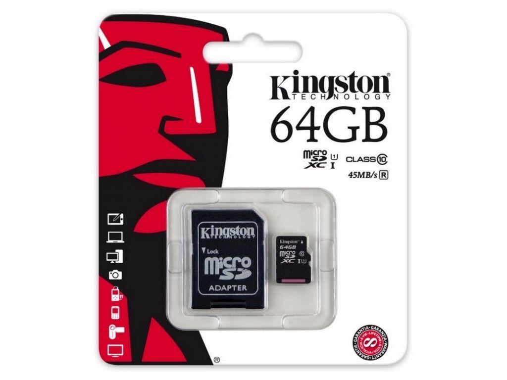 MEMORIA MICRO SD KINGSTON  DE 64 GB CLASE 10 CON ADAPTADOR